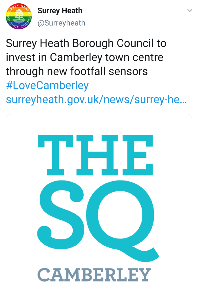Twitter from Camberley's council announcing investments